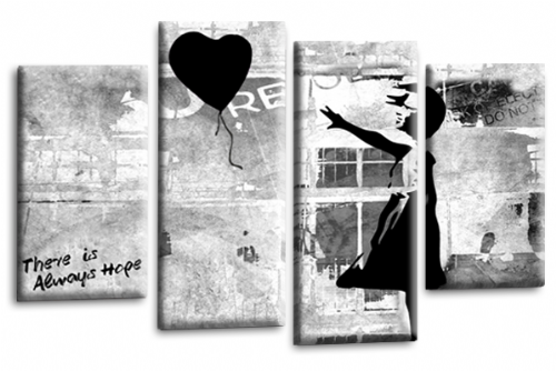 Banksy Art Black Balloon Girl Canvas Wall Picture Love Peace Hope